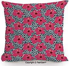 FashSam Decorative Throw Pillow Cover Tropical Hibiscus Flowers and Leopard Pattern Tropics Botanical Jaguar African Animal for Pillow Cover for Living Room(18
