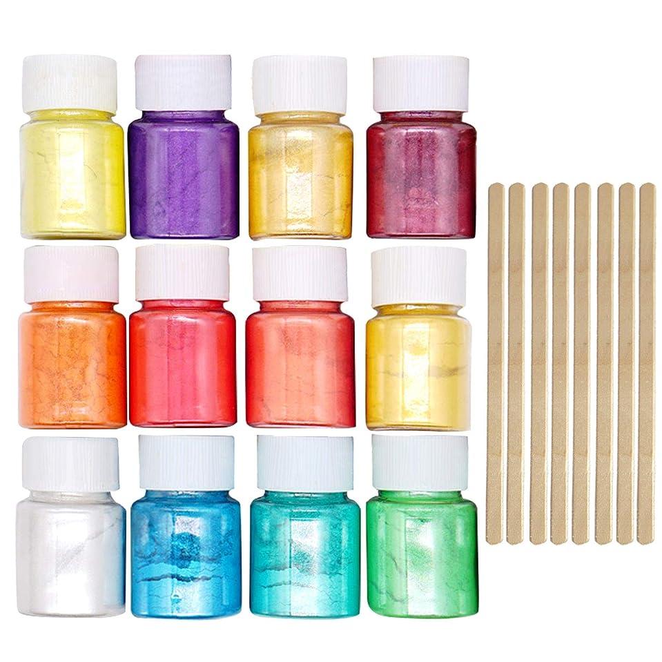 争う寛大さ髄マイカパウダー Migavan マイカパールパウダー 12色着色剤顔料雲母真珠パウダーで8ピース木製攪拌棒diyネイルアートクラフトプロジェクトスライム作り用品