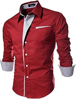 ShopyBucket Maroon Slim Fit Men's Cotton Casual Shirt for Men Full Sleeves (Size XL)