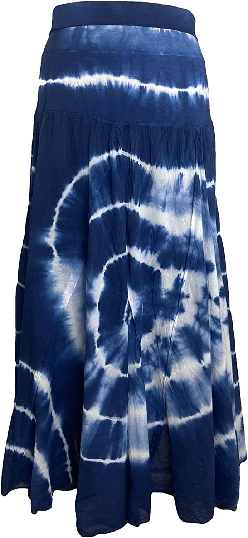 Agan Traders Women's Tie-dye Bohemian High Waist Printed Long A Line Maxi Skirt Lined