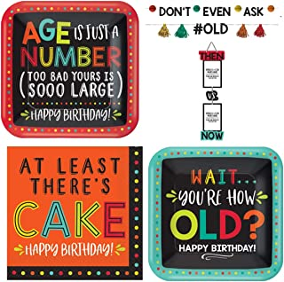 Old Age Humor Birthday Party Supplies - Good for Any Age - Plates, Napkins, Photo Holder and a Banner