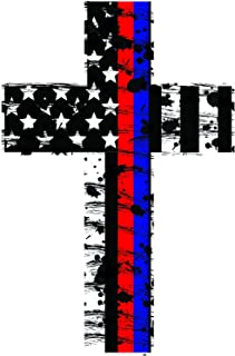 K9King Thin Red and Blue Line Crosses (2 Pack) Highly Reflective. Subdued Us Flag Reflective Decal Honoring Our Firefighters, Police, EMT, and Paramedics