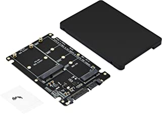 """ADWITS 2-in-1 M.2 NGFF (Key B/B+M) and mSATA Dual Connectors to 2.5"""" SATA III 6Gbps SSD Converter Enclosure with 7mm HDD C..."""