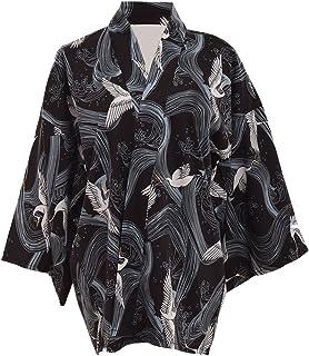 GRACEART Japonés Estilo Grua Impresión Kimono Capa Yukata Túnica Bata de baño