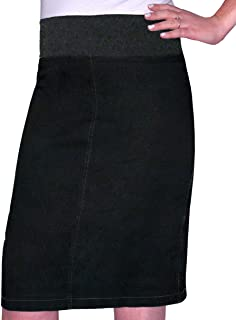 Kid's Big Girls' Modest Straight Midi Length Denim Skirt Stretch Waistband No Slits