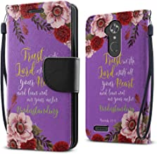 FINCIBO Case Compatible with ZTE Max XL, Fashionable Flap Wallet Pouch Cover Case + Credit Card Holder with Kickstand for ZTE Max XL N9560 - Christian Bible Proverbs 3:5-6