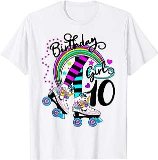 10th Unicorn Roller Skate Birthday Party for Girls Shirt