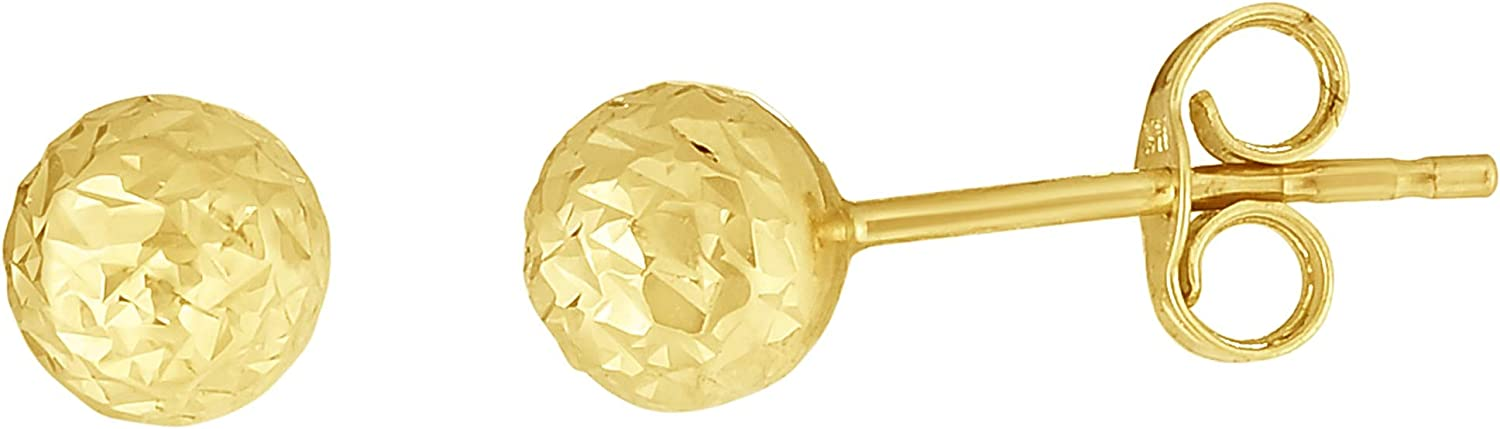 14kt Gold Yellow Finish 5mm Diamond Cut Ball Post Earring with Push Back Clasp