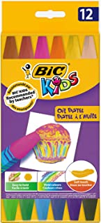 BIC Kids Oil Pastel Crayons - Assorted Colours, Pack of 12