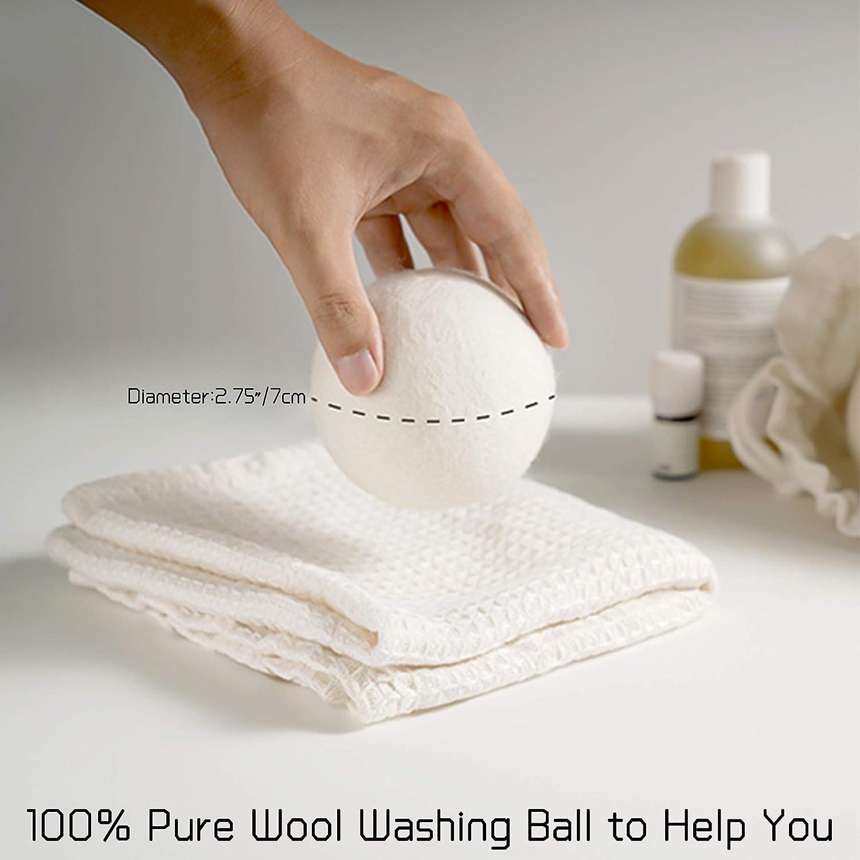 Sfere Dryer 100/% Pallina di Lana con Funziona Ammorbidente MEEQIAO 6PCS Palline di Lana per Asciugatrice per Asciugatrice Antistatici 6 Riutilizzabili