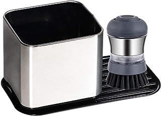 Sink Caddy Kitchen Storage and Organization, Sponge Holder Kitchen Sink Organizer with Soap Dispenser Brush 5 Spaces Living