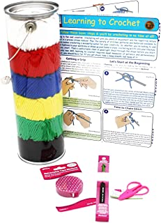 Fair Isle, Bundle – 5 Items: Yarn, 6.55mm Soft Grip Crochet Needle, Retractable Tape Measure, Super Snips Mini Scissors, L...
