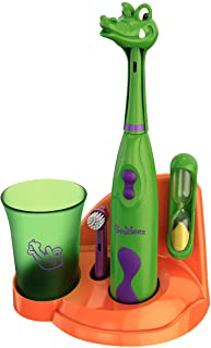 Brusheez® Kids Electric Toothbrush Set (Safari Edition) - Battery Operated, Soft Bristles, Easy On/Off, 2 Brush Heads, Ani...