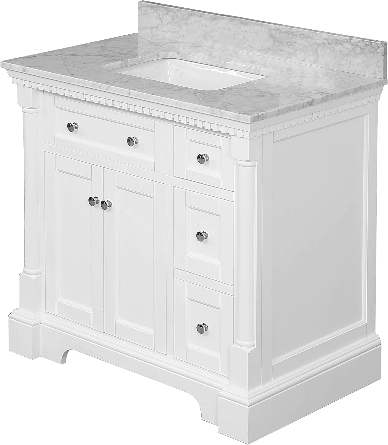 Buy Sydney 36 Inch Bathroom Vanity Carrara White Includes White Cabinet With Authentic Italian Carrara Marble Countertop And White Ceramic Sink Online In Vietnam B07z44c7f6