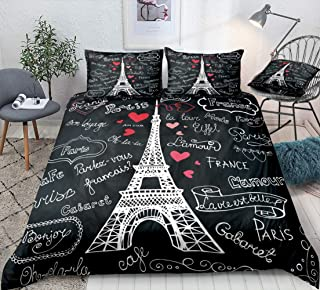 Eiffel Tower Bedding Paris Tower Duvet Cover Set White French Style Letters and Tower Printed Pattern Black Love Letters G...