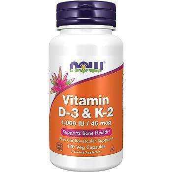 NOW Supplements, Vitamin D-3 & K-2, 1,000 IU/45 mcg, Plus Cardiovascular Support*, Supports Bone Health*, 120 Veg Capsules