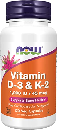 Now Foods Supplements Vitamin D3 K2 1000 IU45 mcg Plus Cardiovascular Support Supports Bone Health Veg Capsules, Oran...