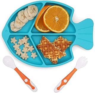 ألواح شفط من روكيد للأطفال الرضع، أطباق الأطفال والملاعق، مجموعة مستلزمات تغذية المرحلة الأولى، أطباق مقسمة من السيليكون ل...