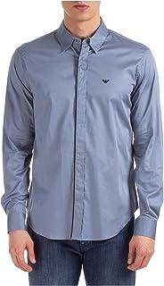 Armani Men's Slim Fit Contrast Trim Shirt Gray