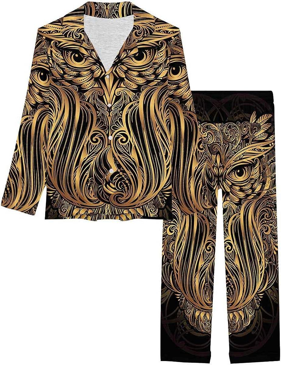 InterestPrint Notch Collar Soft Sleepwear Pj Set for Women Gold Boho Owl
