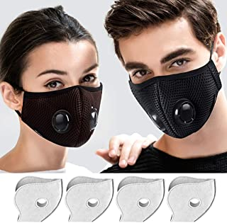 Yeemoi Dust Masks, 2 Pack Mouth Mask Breathable Respirator with 4 Carbon N99 Filters for Pollution Pollen Allergy Woodworking Mowing Running Washable and Reusable Half Face Mask (Black & Coffee)
