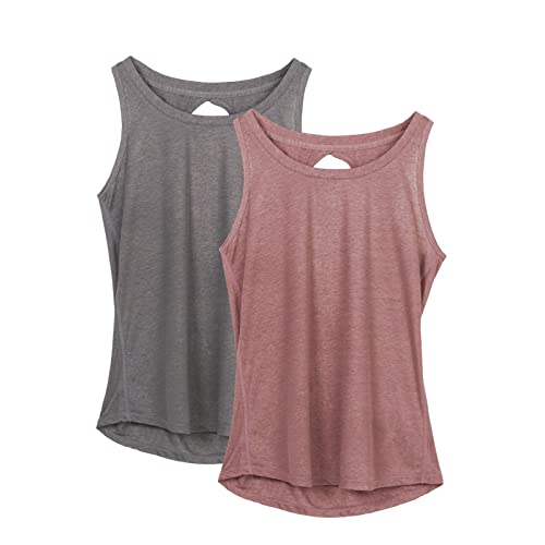 ee1c866da7be6 icyzone Yoga Tops Activewear Workout Clothes Open Back Fitness Racerback Tank  Tops for Women