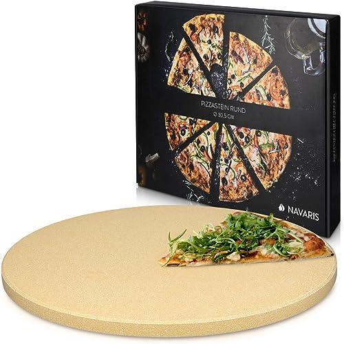 Navaris Pierre à Pizza pour Four XL - Pierre Pizza Ronde Ø 30,5 cm en Cordiérite - pour Four Traditionnel au Bois Bar...