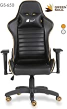 Green Soul PU Leather Racer Series Gaming/Ergonomic Chair (Black and Gold; Medium)