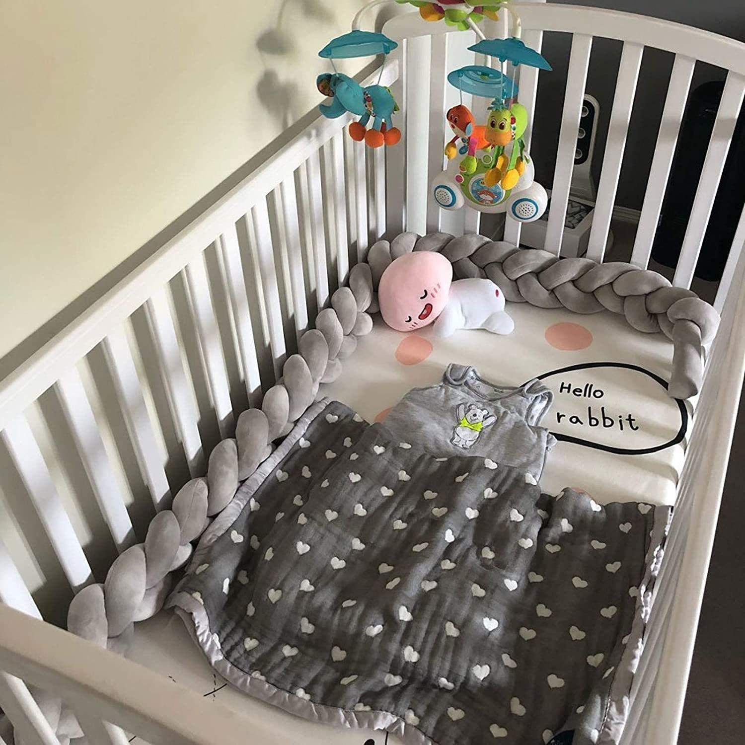 RedSuns Baby Crib Bumper 4 Weave Bumper Pillow Cushion Infant Bedside Protector Newborn Gift Cradle Decor for Boys and Girls,