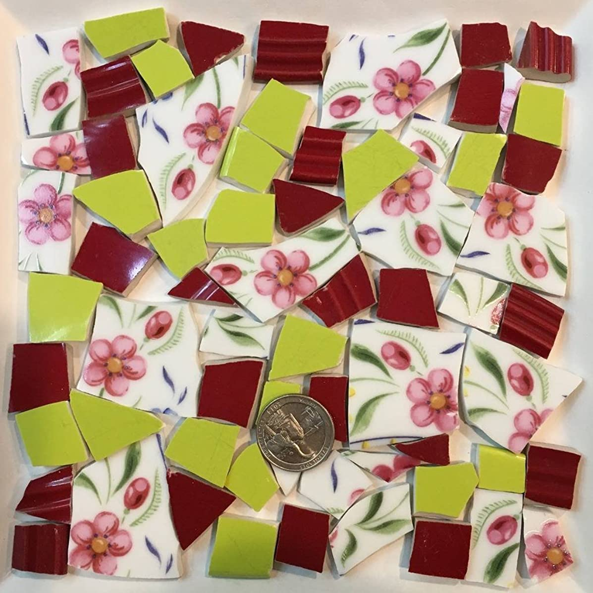 Mosaic Tile Art Supply for Mosaics & Crafts ~ Color Coordinated Set with Pink Flower Tiles(T#559)
