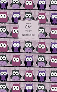 Owl Notebook - Ruled Pages - 5x8 - Premium: (Purple Edition) Bird of Prey Notebook 96 ruled/lined pages (5x8 inches / 12.7...