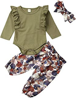 3PCS Clothes Set Newborn Baby Girl Clothes Ruffle Romper Bodysuit Floral Halen Pants Headband Outfits