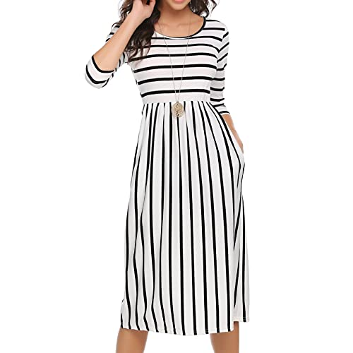 1d8539ee592 Halife Women's 3 4 Sleeve Stripe Elastic Waist Casual Dress with Pocket
