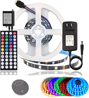 BIHRTC RGB Led Light Strip Kit DC12V 1A UL Listed Power Supply SMD 5050 6.56 Ft (2M) 60 LEDs Non-Waterproof IP20 Flexible LED Tape with 44 Key Ir Controller for Kitchen Cabinet Bedroom Sitting Room