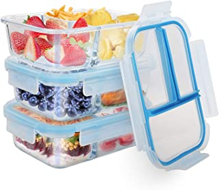 Glass Meal Prep Containers TIME4DEALS 3 Pack 36 Oz Upgraded Glass Lunch Containers 3 Compartments Independent Seal No Food Odor Lunch Box Bento Box, BPA-Free, Microwave, Oven, Freezer, Dishwasher Safe