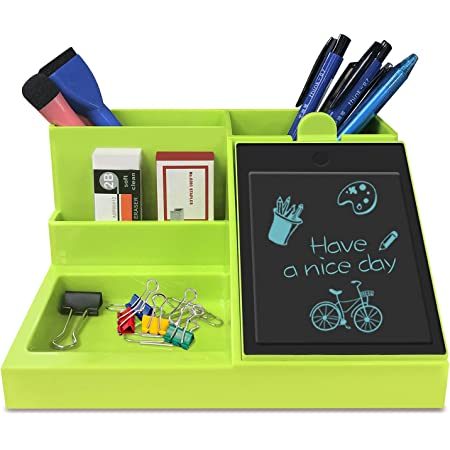 GUYUCOM Organiseur de bureau multifonction avec écran LCD pour stylo/cartes de visite/téléphone portable/fournitures de bureau Vert
