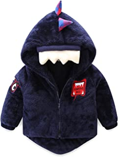 Cute Boys Fleece Jacket with Hood Dinosaur