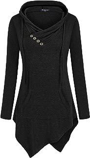 Uneven Hemline Hoody Shirt Pocket Tunic Long Sleeve...