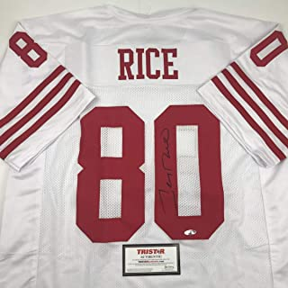 Autographed/Signed Jerry Rice San Francisco White Football Jersey Tristar COA