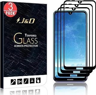 J&D kompatibel med 3-pack Huawei Y7 2019/Huawei Y7 Pro 2019/Huawei Y7 Prime 2019 skärmskydd, [Inga upplysta kanter] [INTE ...