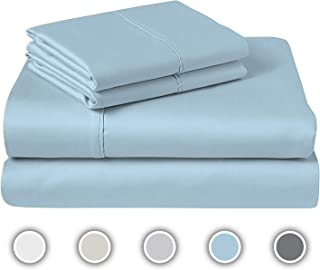 COZERI 600 TC Luxury Sheet Set with Long Staple Cotton, 100% Cotton, Breathable, Soft & Silky Sateen Weave, Fits Mattress Upto 17