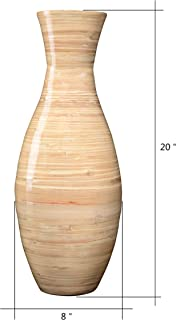 """Villacera Handcrafted 20"""" Tall Natural Classic Floor Vase for Silk Plants, Flowers, Filler Decor   Sustainable Bamboo"""