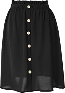 Women Vintage Button Front Elastic Waist A Line Pleated Flared Midi Skirts