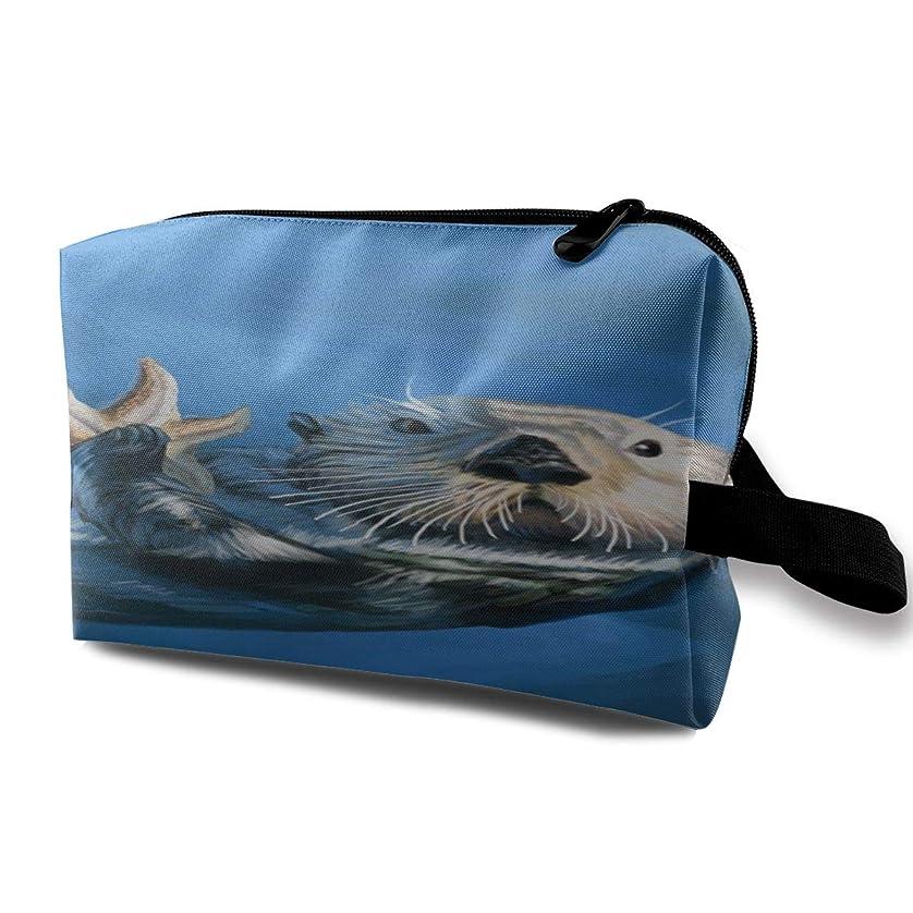 メニュー一緒に居間Sea Otter 収納ポーチ 化粧ポーチ 大容量 軽量 耐久性 ハンドル付持ち運び便利。入れ 自宅?出張?旅行?アウトドア撮影などに対応。メンズ レディース トラベルグッズ