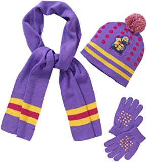 Despicable Me Minions Girls 3 Piece Purple Knit Scarf Gloves & Hat Beanie Set