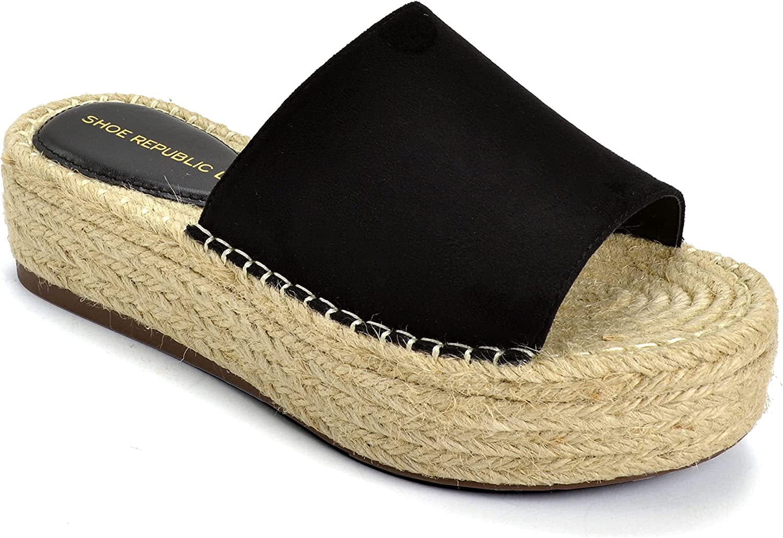Shoe Republic LA Women's Espadrille Open Toe Slide On Wedge Platform Spring Summer Sandals