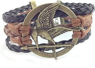 Hunger Games Mocking Jay Black Brown Leather Bracelet