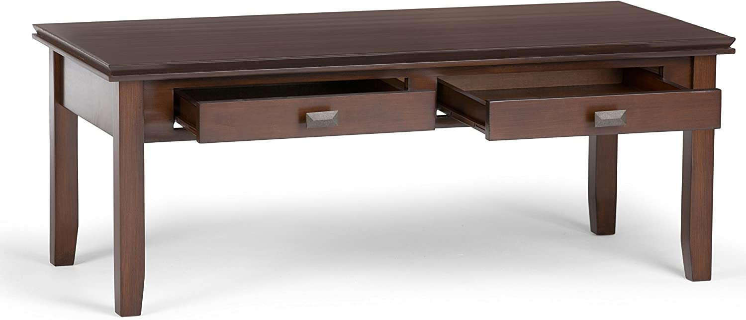 Simpli Home Artisan SOLID WOOD 46 inch Wide Rectangle Contemporary Modern Coffee Table in Medium Auburn Brown with Storage, 2 Drawers, for the Living Room, Family Room