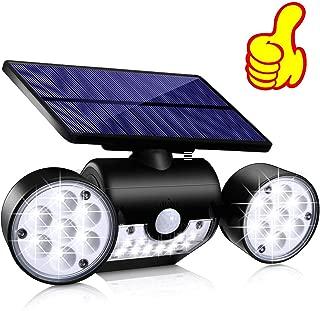 Solar Lights Outdoor, Topmante 30 LED Waterproof Solar Powered Wall Lights with Motion Sensor Dual Head Spotlights IP65 Waterproof 360° Adjustable Solar Motion Lights Outdoor (Black, 1 Pack)