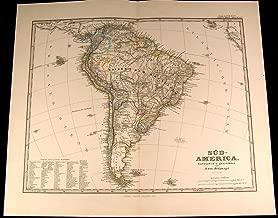 South America Brazil Columbia Patagonia Peru Bolivia 1875 fine old detailed map